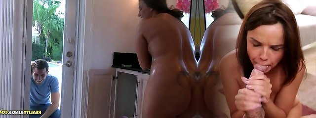 Hefty mommy takes a douche soaping her sensual body and later gives a quality oral