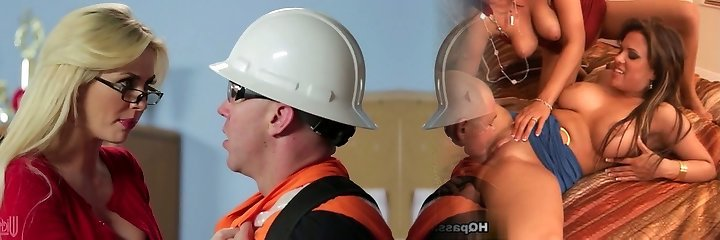 Towheaded mature in glasses Gigi Allens bangs a hot builder