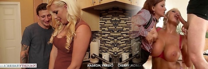 Sexy blondie Cherry Morgan gives blowjob sex