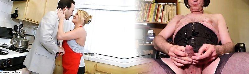 Xxx Mature Cougar in Kitchen Gets Surprise
