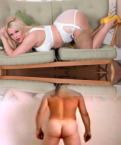 Brassy blondie strips to wank in vintage panties nylon heels