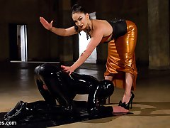 The dark, sadistic dungeon side of Divine Bitches is BACK with master fetishist LEA LEXIS! Dripping in latex, she finds Tony, her rubber whore, chained up in the basement...leaking pre-cum out of his desperate cock! WITHOUT PERMISSION! Let the brutal punishment begin.Lea clothespins and shocks the hell out of his swollen balls and, since Tony didn't cry too much, lets him dip his head under her sweaty latex skirt and sniff her sweaty cunt and ass. She then canes, flogs and fucks him as he is suspended in the air, screaming for both mercy and to cum. But pathetic rubber perverts don't get to cum...yet. Lea milks Tony's prostate while riding his face and jerking his sad cock. After smothering his face with her delicious pussy and all its orgasms, Lea may let him cum. The rest of you pervs will just have to watch and find out...