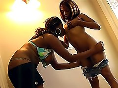 Wild black lesbians licking and kissing