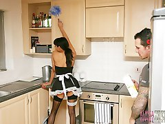 This hunky stud got so horny from watching cheeky house maid Alyssa Divine bending over with no panties on, he just had to fill all her dirty holes