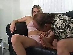 Big tits chubby ash-blonde palying with her nub while getting toe sucked