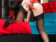 Its the holidays with Chloe, and shes out for fun in her hotel room dressed to excite in red...