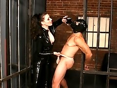 Mistress Anastasia Pierce punishes her malesub partner with bondage and painful nipple torture