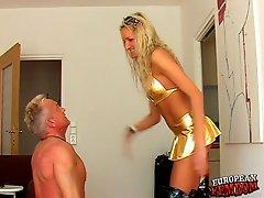 Femdom fetish with blond Mistress Viola