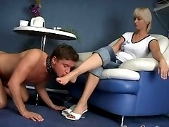 Masterful blonde women worshipped and served by her fleshy boyfriend