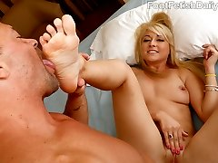 Kurt cant wait to get Valerie Whites creamy toes in his mouth. She wants to see what her feet...