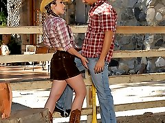 Check out this hot hairy bush babe get her pussy fucked hard in these cowboy fucking pics