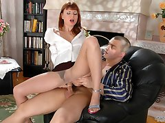 Awesome secretary in sheer pantyhose greeting her boss with her open pussy