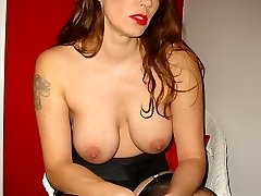 Goregeous Milf Nylon Jane teases her big juicy tits in sexy nylons, lingerie and high heels
