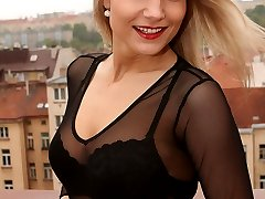 Blonde in black panty tease outside
