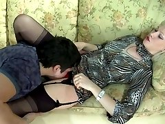 Dolled-up blonde wearing classy black stockings challenged with a big boner