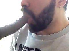 white suck a black dick in public