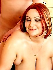 Smothering cock with her tits