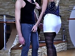 Teasing hottie boasts her sexy stripy pantyhose and gets them jizzed in duo