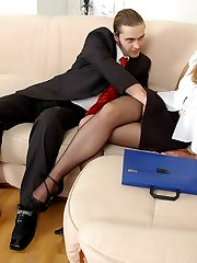 Lusty secretary in barely black pantyhose seducing guy to play nylons game
