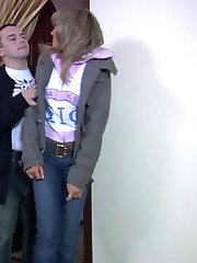 Sassy blonde stripped to her shiny pantyhose and screwed after standing 69