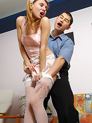 Raunchy French maid in sexy white stockings seducing hot guy into fucking