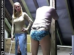 Caned with his pants down - searing burning strokes from cruel bitch