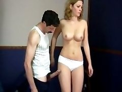 Hard otk spanking with white knickers ripped down for tearful teen