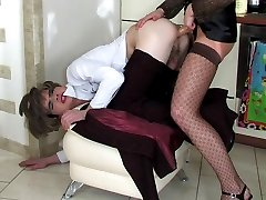 Freaky cross-dresser changes into female clothes for a strap-on ass ride