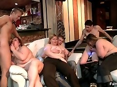 Horny fat chicks give blowjobs to the eager young guys and the oral sex is super hot stuff