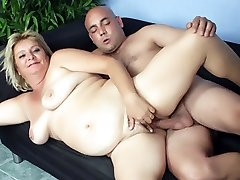 Chubby older babe Sussana joins our stunt cock on the couch and takes a mean pounding