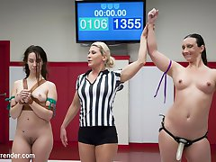 Cassidy Klein and Wenona are both two of the most bendy wrestlers we have. Today these athletes show us just how flexible they are. Wrestler is put into brutal holds, suffocated with kisses and made to cum against her will while being held down by a power amazon. Loser is bound with latex belts and fucked until she's stupid