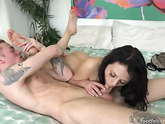 Megan Sage wants her feet rubbed and her boyfriend is ready to help. Touching her pretty feet is...