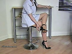 You have once again been looking at women's high heel shoes and that's made you do something to yourself that's landed you in need of treatment! However you find that your nurse wears high heels and you looking at them makes you horny and your desire makes you better again