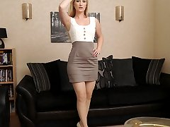 Hot blonde Toni shows her sexy long legs wearing a pair of silky nylons and gorgeous cream stilettos