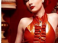 Pervy latex servant dress up with hot redhead Angela Ryan