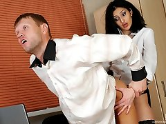 Pervy boss makes his bewildered secretary strap-on fuck his mouth and bum