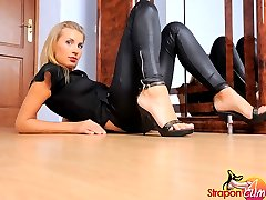 Black latex, Leather heels, big strap-on and sexy blonde add up to HOT!