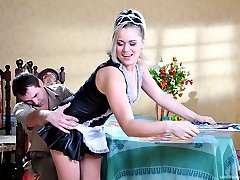 French maid gets her strapon secret uncovered to be used on a curious man