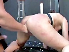 Submissive slave girl fist fucked by a vicious brute