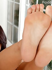 Gina Valentina has her boyfriend come home and suck her feet. She gives him the most epic footjob and he begs for more. She sucks his huge cock and wants to feel it in her pussy. After they fuck he blasts his load all over her creamy feet.
