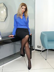 Hot leggy blonde Kathryn shows her silky nylon stockings and tall black high stiletto shoes