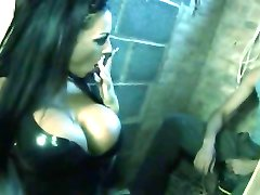 Brunette with black latex minidress get fucked