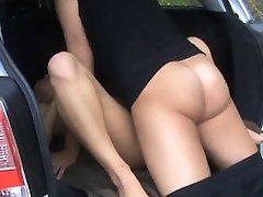 Blond babe loves car sex