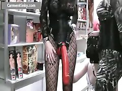 Two kinky MILF fucking dude with strap part4