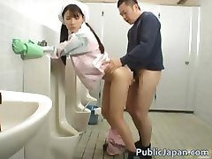 Asian bathroom attendant is in the mens part4