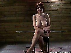 BDSM big tits redhead deep throat fucked in dungeon