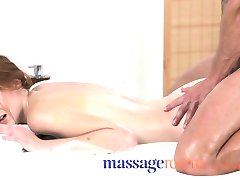 Massage Rooms Deep and intense fuck makes freckled redhead squirt