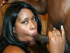 Thick ebony Brandi Dearborn spreading her phat booty to take cock plugging in her pussy and...