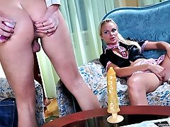 Sassy hottie impales her boys lubed ass on a dildo before strapping it on