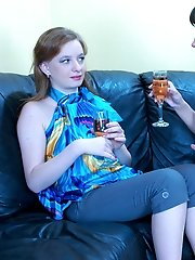 Tipsy babes go for intergenerational lez sex with passionate tongue kisses